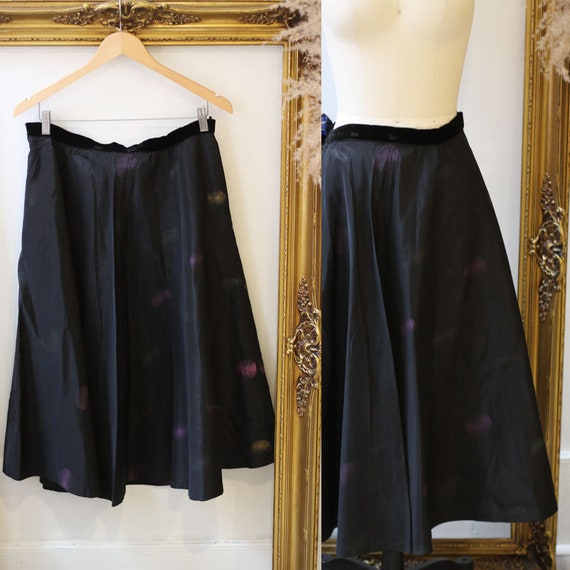 1950s spray paint circle skirt // 1950s black circ