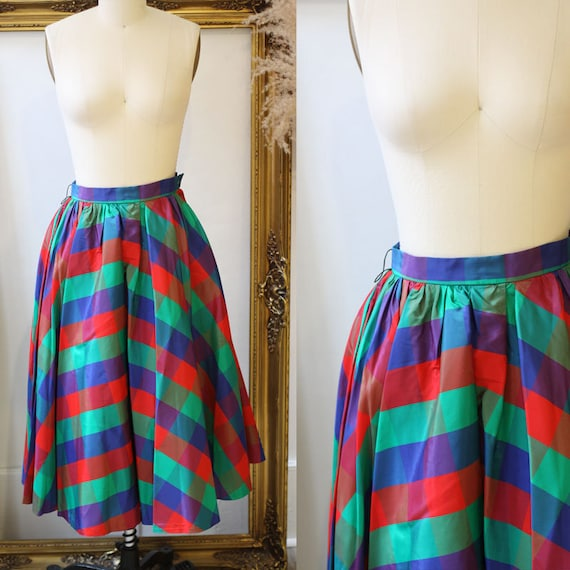 1950s plaid circle skirt // 1950s bright plaid ski