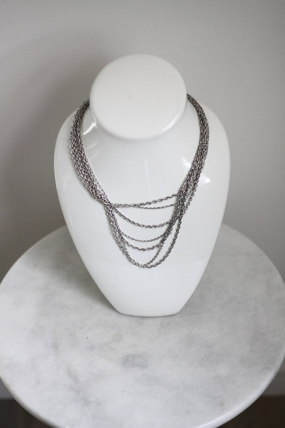 1970s silver chain necklace // 1970s multi chain necklace // vintage jewlery