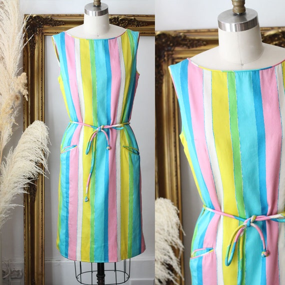 1960s rainbow striped shift dress // 1960s striped dress // vintage dress