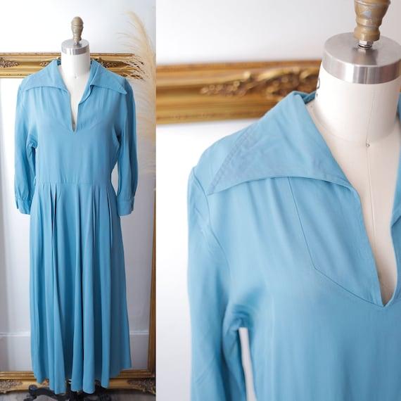 1940s blue shirt dress // 1940s blue dress // vintage day dress