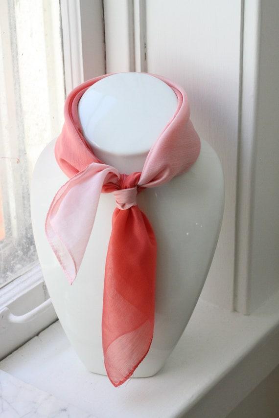 1970s pink ombré scarf // vintage neck scarf // vintage nylon scarf