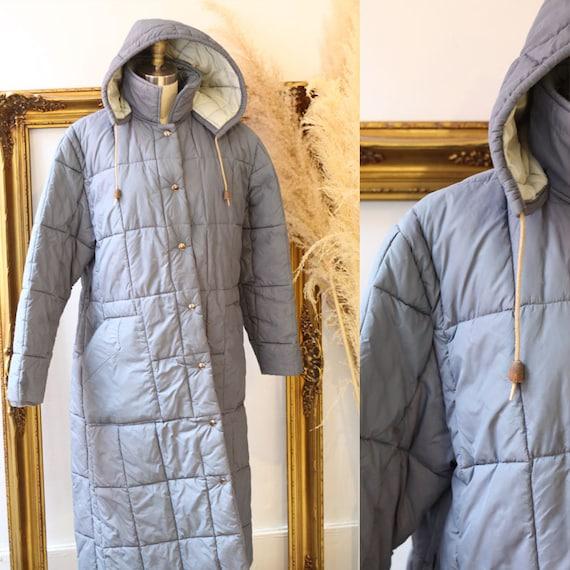 1970s quilted long coat // 1970s full length parka // vintage parka