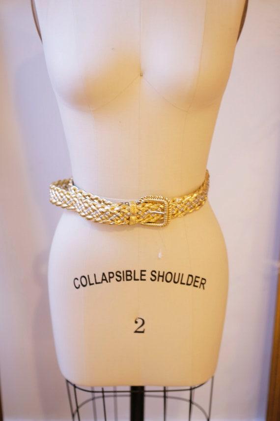1980s woven gold belt // 1980s gold belt // vintage belt