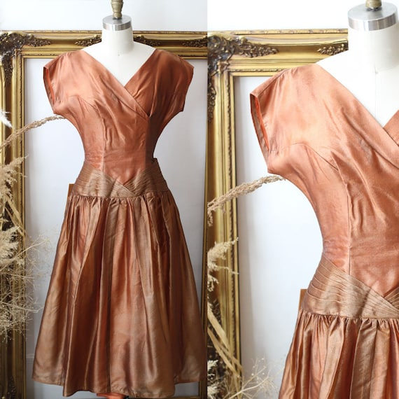 1950s copper silk dress  // 1950s silk cocktail dress // vintage dress