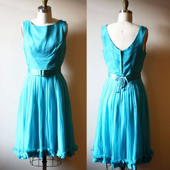 1960s blue chiffon dress // belted dress // vintage dress