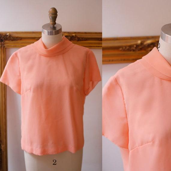 1960s peach chiffon blouse // 1960s chiffon blouse // 1960s pink blouse