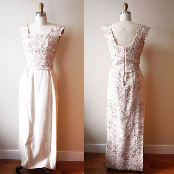 1960s soft pink gown // 1960s beaded dress // vintage dress with train