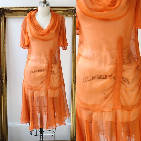 1920s orange flapper dress // 1920s flutter sleeve dress  // antique dress