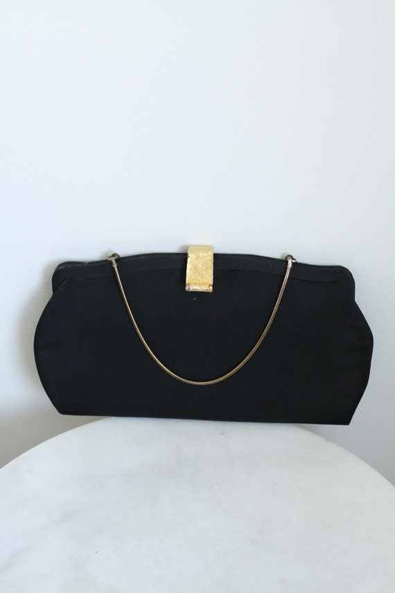 1950s black cocktail clutch // 1950s evening clutch // vintage purse