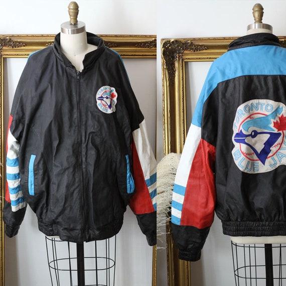 1980s blue Toronto Blue Jays Bomber // vintage leather bomber jacket // vintage coat