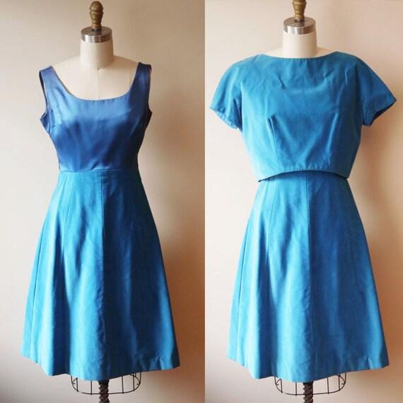 1960s blue suede dress // holiday dress // vintage dress
