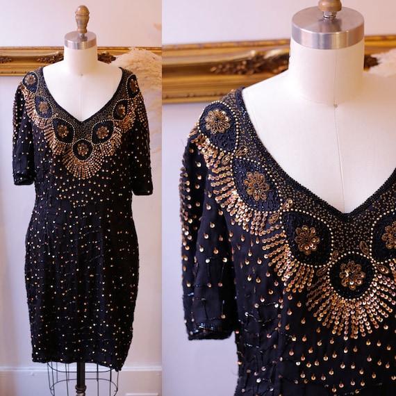 1980s Gold Sequin Dress // 1980s black sequin wiggle dress // vintage cocktail dress