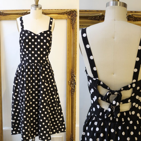 1980s black and white polka dot dress // 1980s summer dress // vintage dress