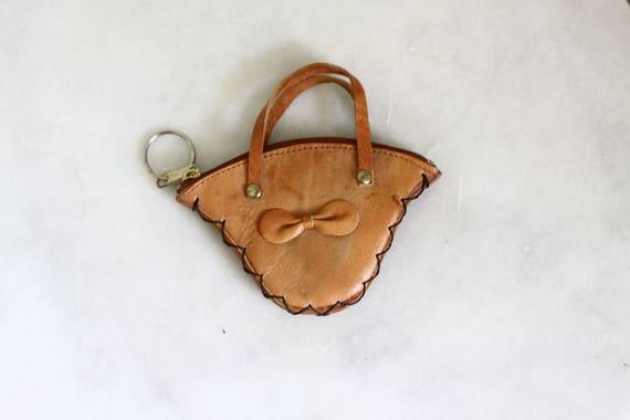 1950s leather change purse  // 1950s leather basket wallet // vintage wallet