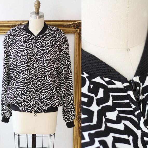 1980s squiggle print jacket //1980s bomber jacket // vintage bomber jacket