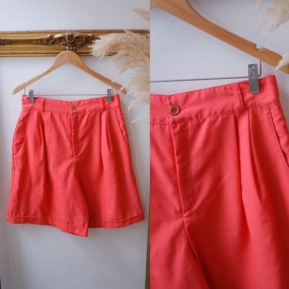 1980s coral trouser shorts //1980s high waist shorts // vintage shorts