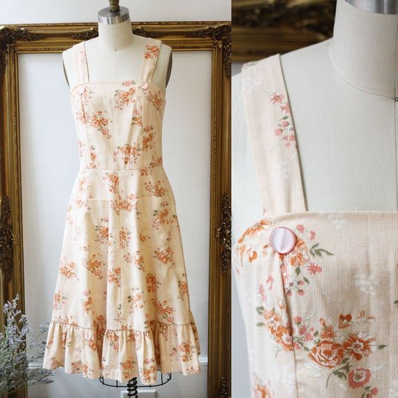 1970s peach corduroy floral dress // 1970s peasant dress // vintage floral dress
