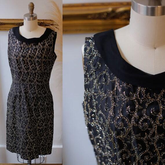 1960s black gold thread dress // 1960s black sparkly dress // vintage cocktail dress