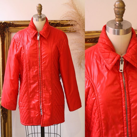1970s red quilted parka // 1970s Parka // vintage parka