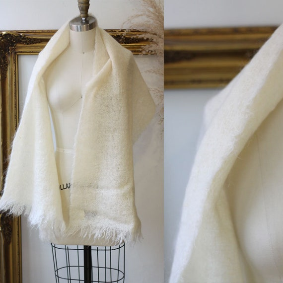 1960s oversized scarf // 1960s mohair shawl // vintage mohair scarf