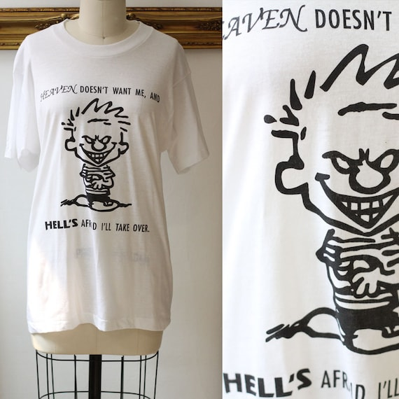 1990s Calvin and Hobbs t-shirt // 1990s cartoon shirt // vintage t-shirt
