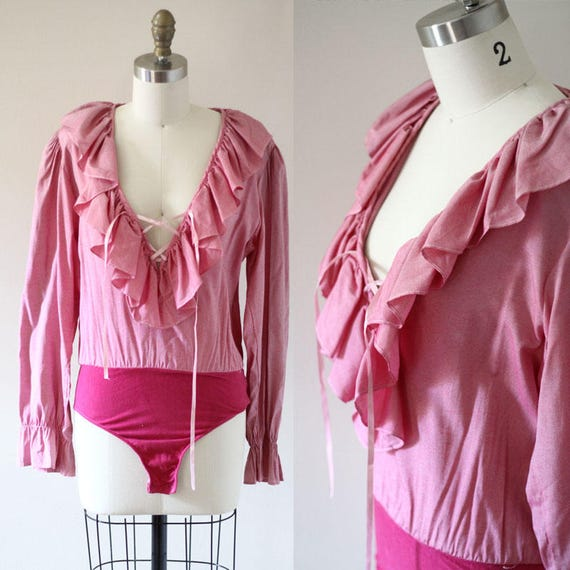 1980s pink ruffle body suit // 1980s body suit // 1980s ruffle blouse