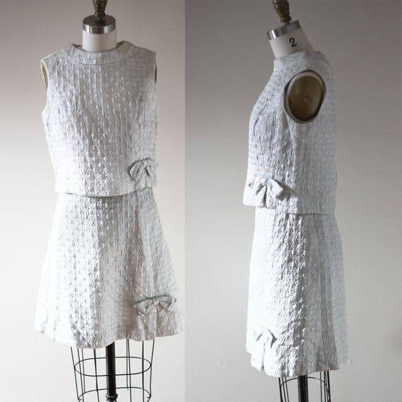 1960s silver brocade dress // two piece silver dress // vintage dress