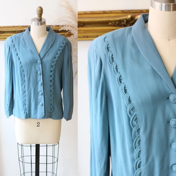 1940s teal crepe blazer // 1940s scalloped jacket // vintage jackets