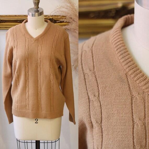 1970s brown sweater // vintage sportswear sweater// vintage knit