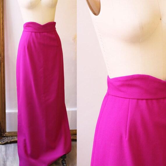 1960s fuchsia maxi skirt // 1970s fuchsia pink maxi skirt // vintage full length skirt