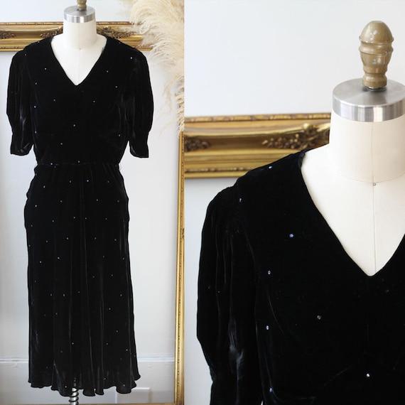 1930s black silk velvet dress // 1930s rhinestone velvet dress // vintage black dress