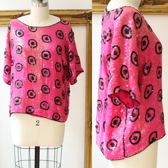 1980s pink sequin top // 1980s circle print shirt // vintage sequin top
