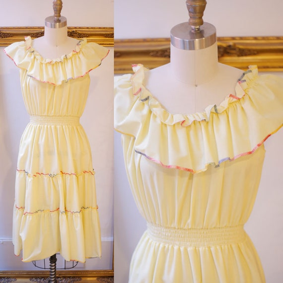 1970s off the shoulder dress // 1970s yellow ruffle dress // vintage dress