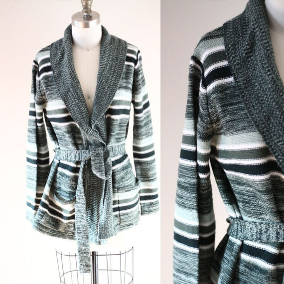 1970s bell sleeve cardigan // 1970s green stripe sweater // vintage sweater