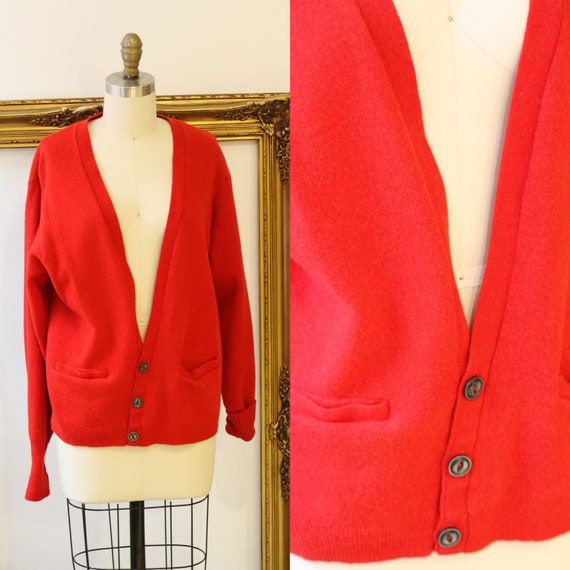 1940s Jantzen red cardigan // vintage red sweater //vintage sweater cardigan