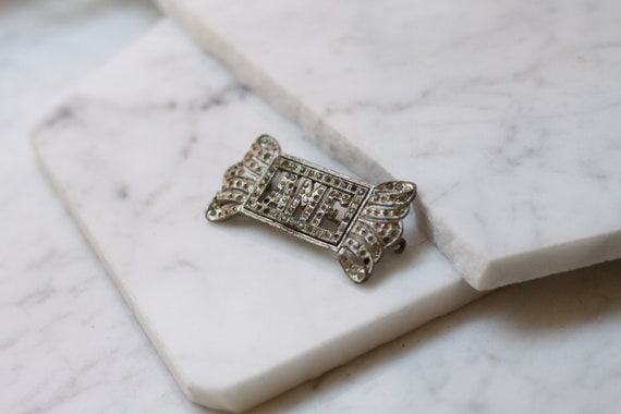 1920s silver monogram brooch // silver AMF brooch // vintage brooch