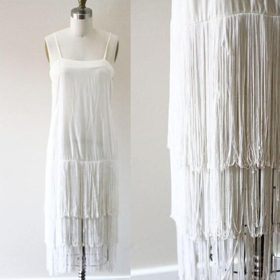 1980s White Fringe Dress // 1980s wedding dress // vintage dress
