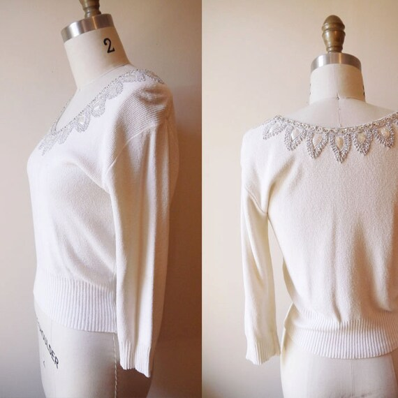 1970s white shell sweater // vintage sportswear // vintage womens