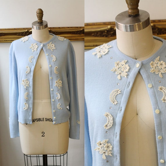 1960s blue and white floral cardigan // 1960s blue cardian // vintage womens
