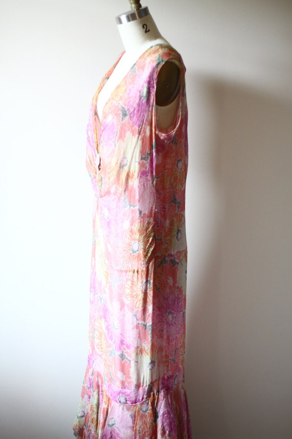1920s floral silk chiffon dress // 1920s flapper … - image 4