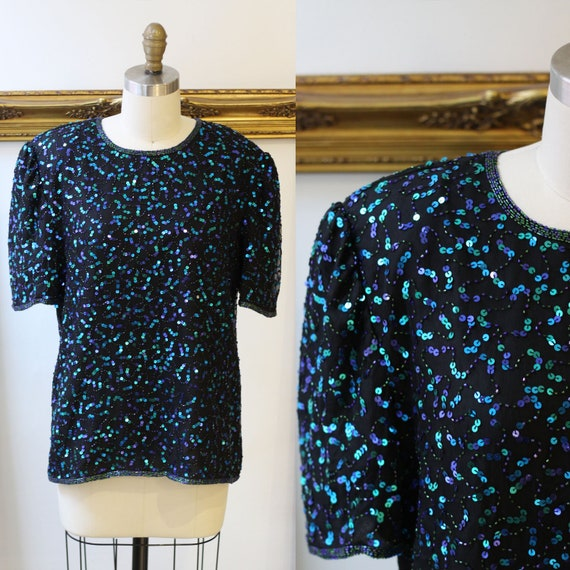 1980s mermaid sequin top // 1980s beaded shirt // vintage sequin top