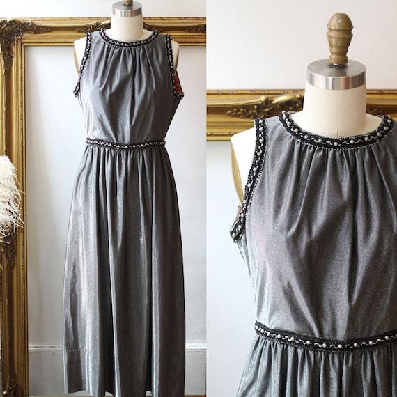 1960s silver sparkle dress // 1970s silver maxi dress // vintage dress