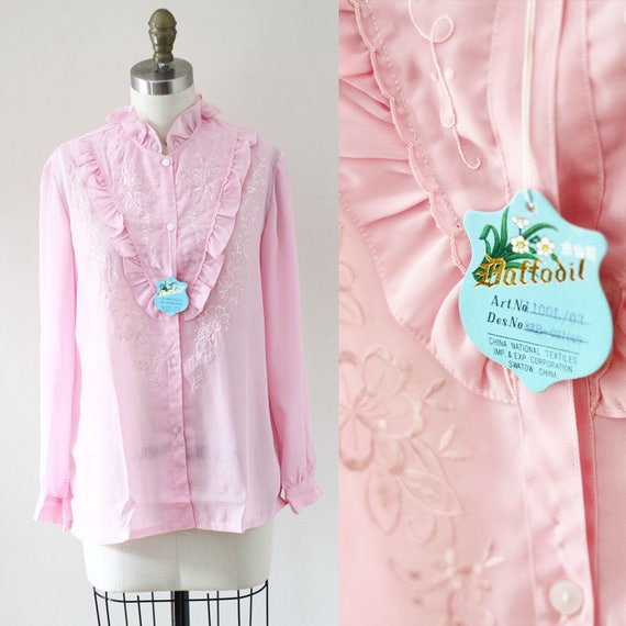 1970s pink Daffodil blouse // soft pink blouse // vintage womens
