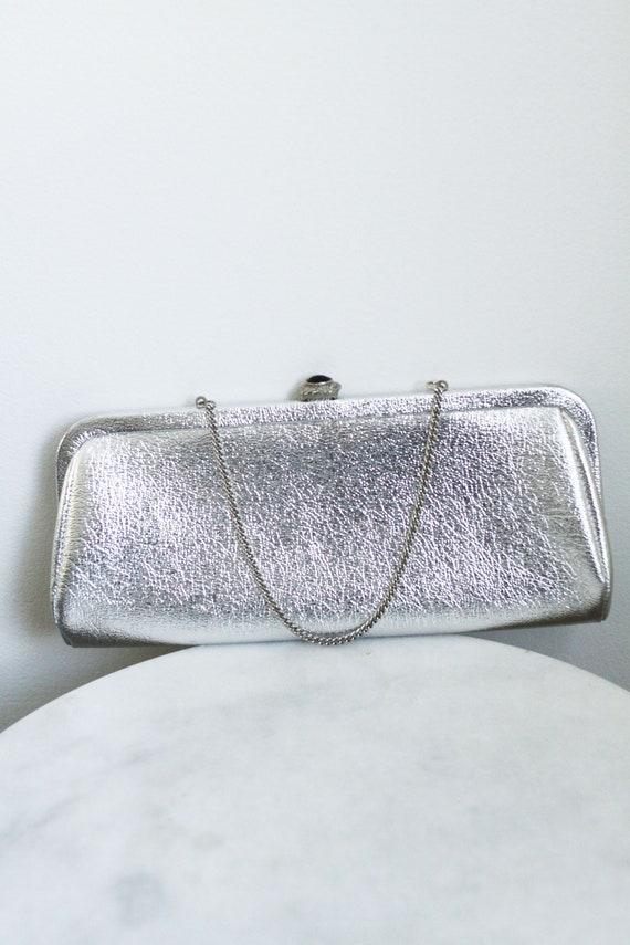 1960s silver handbag // 1960s silver clutch // vintage purse