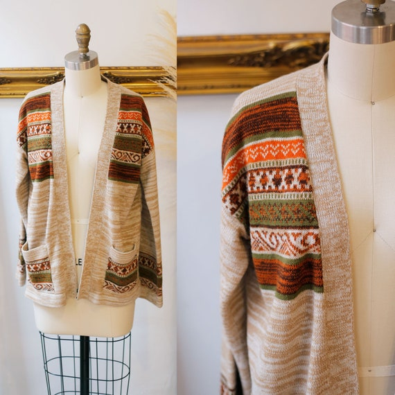 1970s brown wrap Sweater // 1970s cardigan // vintage sweater