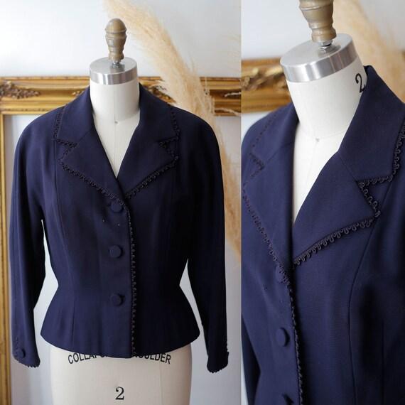 1940s navy blue blazer // 1940s suit jacket // vintage blazer jacket