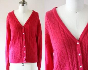 1980s fuschia cardigan // vintage pink sweater // 1980s sweater