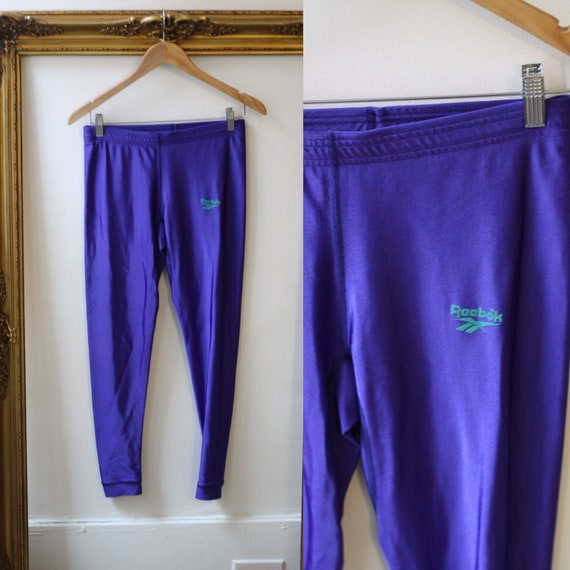 1980s purple pants // 1980s Reebok leggings // vintage athletic pants