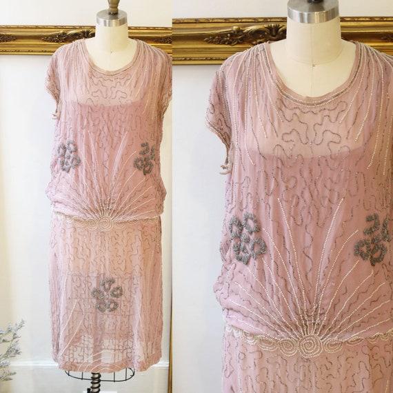 1920s beaded pink drop waist dress // 1920s heavily beaded dress // vintage flapper dress
